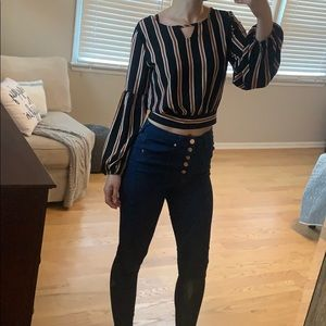 Navy Long sleeve striped crop top